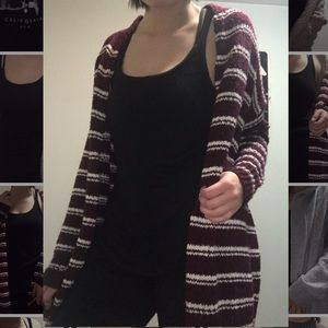 Burgundy cardigan with white stripes
